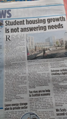 20180215 Edinburgh Evening News - Student housing growth is not answering needs